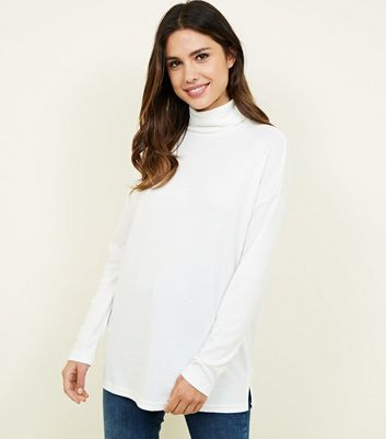 Off White Batwing Sleeve Roll Neck Top by New Look