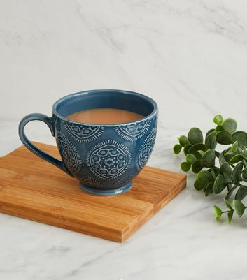 Teal Etched Tile Pattern Glazed Mug