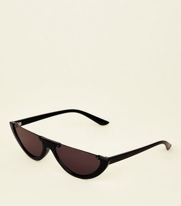 Black Half Moon Sunglasses by New Look