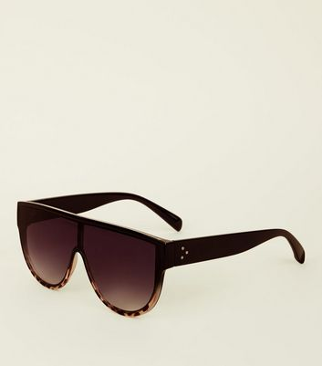 Black Leopard Print Flat Top Sunglasses
