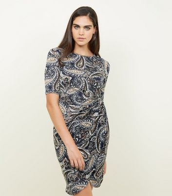 Mela Navy Paisley Print Side Knot Dress