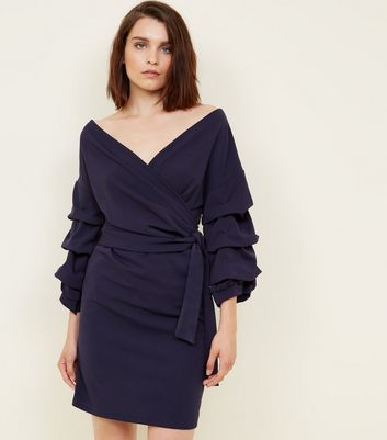 Mela Navy Gathered Tier Sleeve Dress