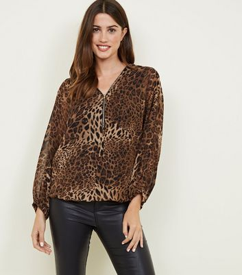 Mela Brown Leopard Print Zip Top
