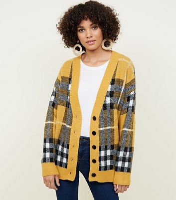 Mustard Check Oversized Cardigan