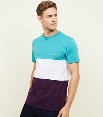 Teal Colour Block Homme Sport Embroidered T-Shirt