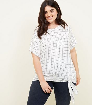Curves White Grid Check Tie Side T-Shirt