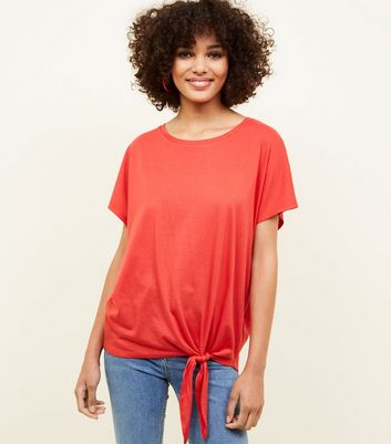 Red Oversized Tie Front T-Shirt