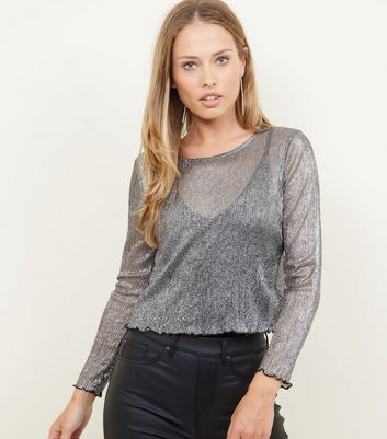 Cameo Rose Black Metallic Mesh Crop Top
