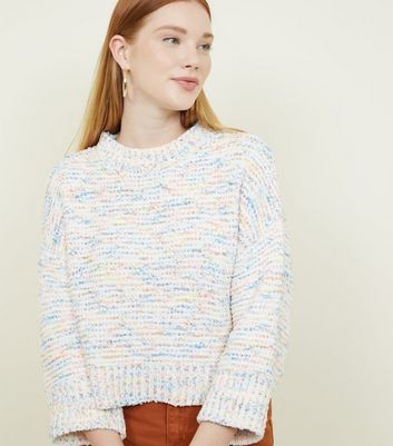 White Neon Nep 3/4 Sleeve Jumper