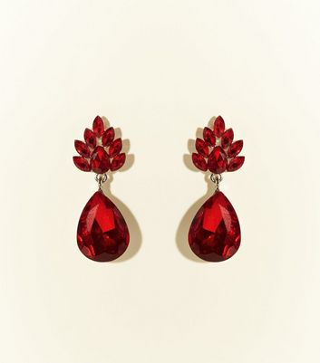 Red Gem Tear Drop Earrings