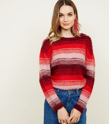 Red Space Dye Stripe Brushed Jumper