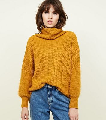Mustard Fluffy Cuff Roll Neck Jumper