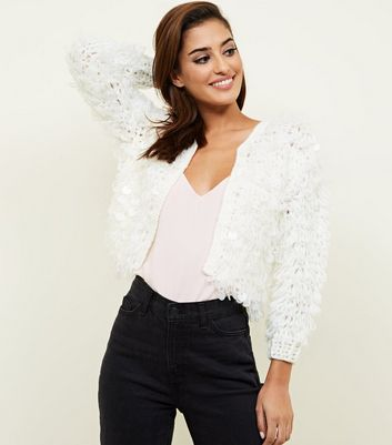 White Loop Knit Matte Sequin Cardigan