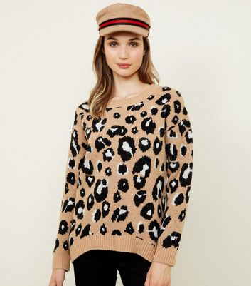 Brown Leopard Print Slouchy Jumper