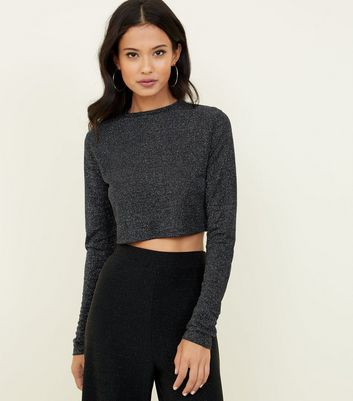 Cameo Rose Black Glitter Crop Top