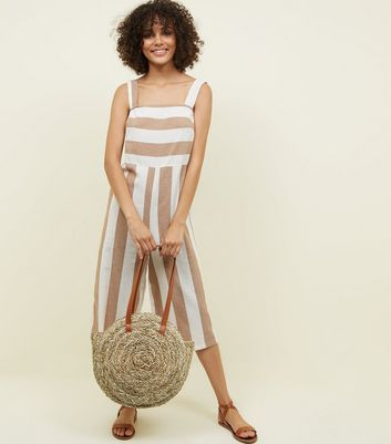 Lulua London Brown Stripe Cropped Jumpsuit