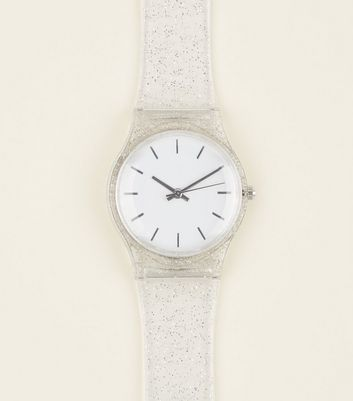 Clear Glitter Strap Watch by New Look