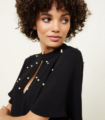 New Look - Black Faux Pearl Studded Top - 5