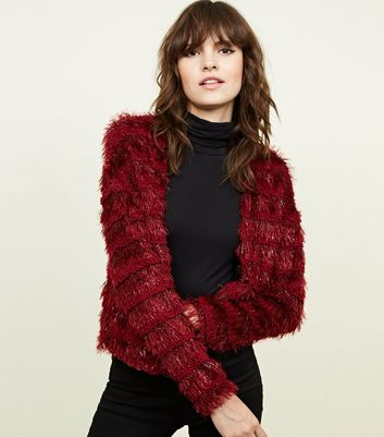 Burgundy Fine Knit Glitter Faux Fur Long Sleeve Cardigan