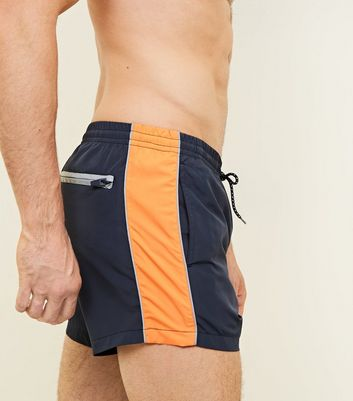 Navy Stripe Side Swim Shorts
