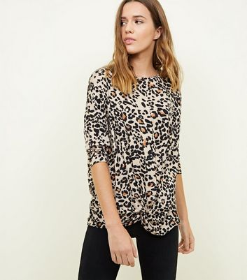 Brown Animal Print Twist Front Top