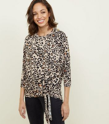 Brown Leopard Print Button Shoulder Tie Side Top