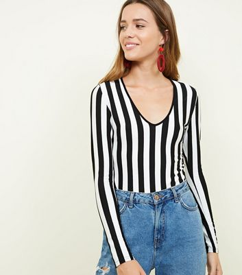 Black Stripe Long Sleeve Bodysuit