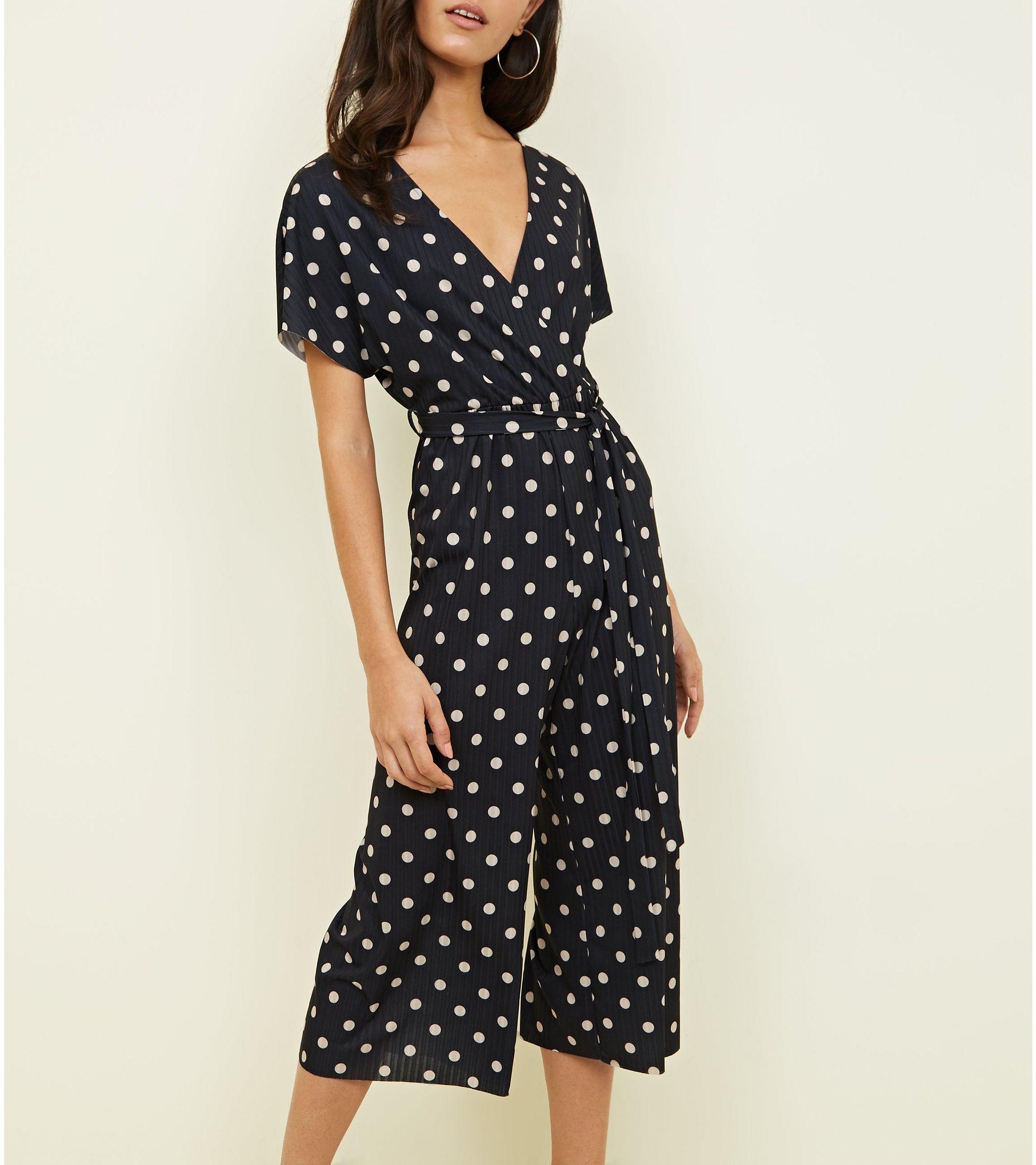 0e8af8f7d5 New Look Black Spot Print Wrap Culotte Jumpsuit at £12