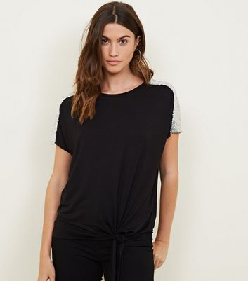 Black Sequin Shoulder Tie Side T-Shirt