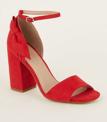 Red Suedette Side Bow Block Heels
