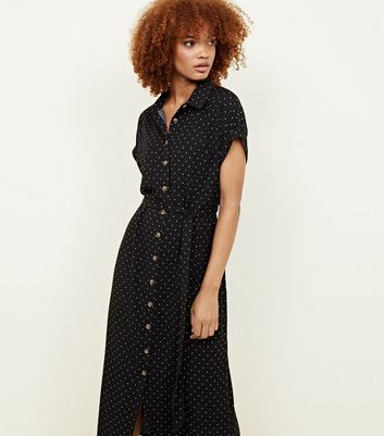 Black Spot Print Twill Midi Shirt Dress