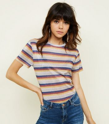 Multi Coloured Metallic Stripe T-Shirt