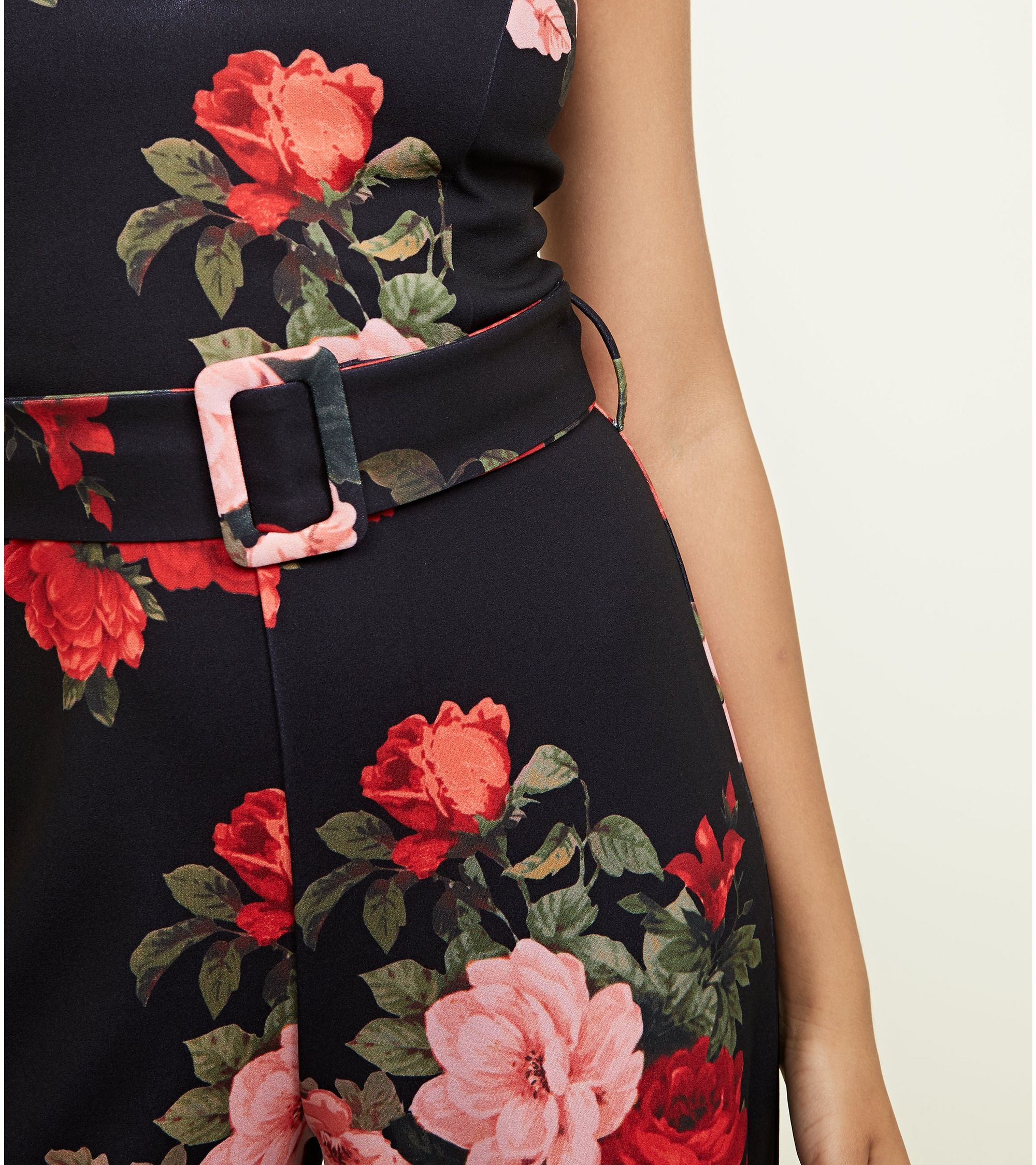 77ae94e675 New Look Black Floral Belted Wide Leg Jumpsuit at £22.49