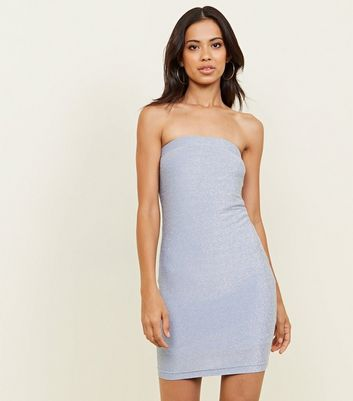Pale Blue Glitter Strapless Party Bodycon Dress