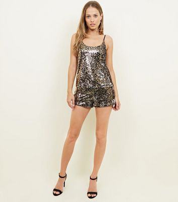 Brown Leopard Sequin Party Cami