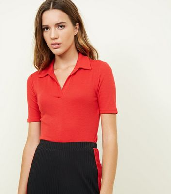 Red Collar Neck T-Shirt