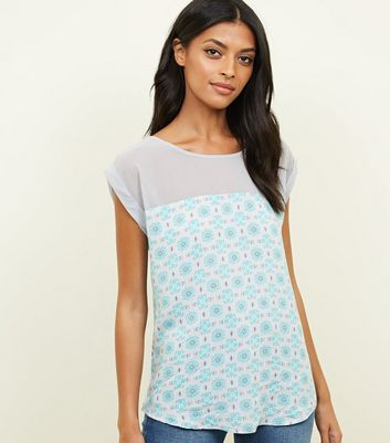 Apricot Pale Blue Floral Tile Print Top