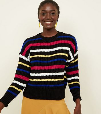 Black Multi Stripe Crew Neck Chunky Knit Jumper