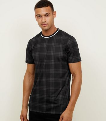 Dark Grey Tipped Check T-Shirt