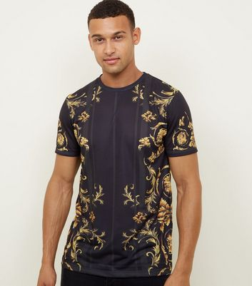 Gold and Black Baroque Print T-Shirt
