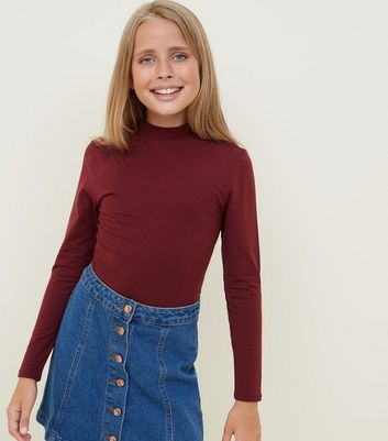 Girls Burgundy Funnel Neck Top