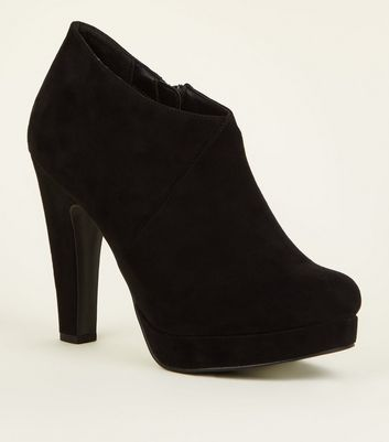 Black Comfort Suedette Platform Shoe Boots by New Look