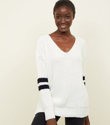 Cream Stripe Sleeve V-Neck Jumper