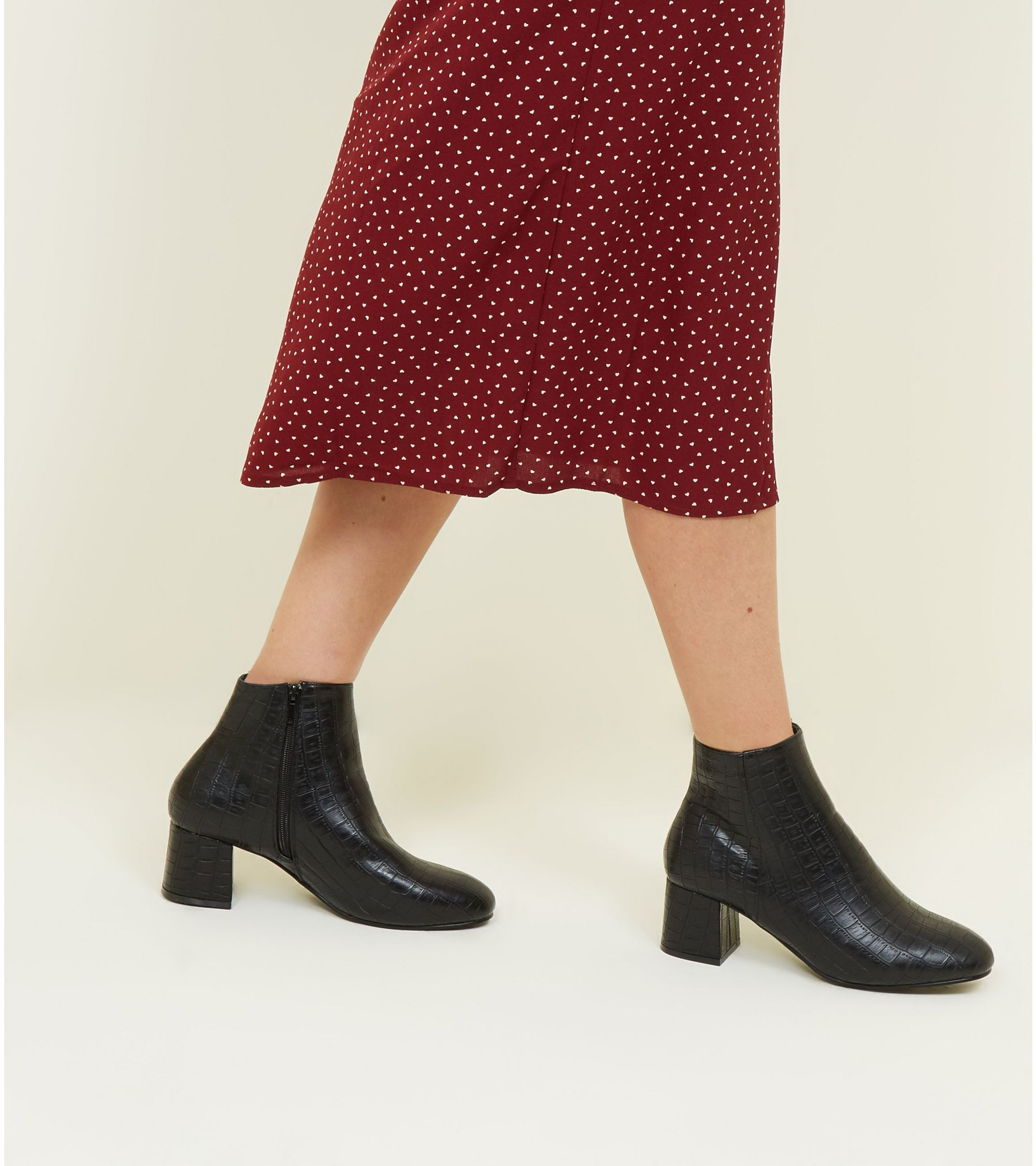 aca258c32b1a New Look Wide Fit Black Faux Croc Block Heel Ankle Boots at £27.99 ...
