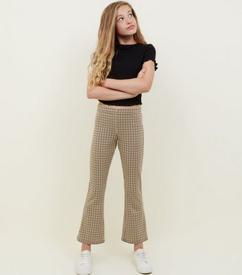 Girls Yellow Check Print Kick Flare Trousers