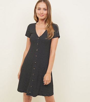 Tall Black Stripe Button Through Tea Dress