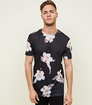 Black Floral Mesh Oversized T-Shirt