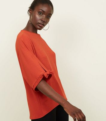 Rust Ribbed Tie Sleeve Batwing Top
