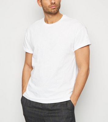 White Slub Rolled Sleeve T-Shirt