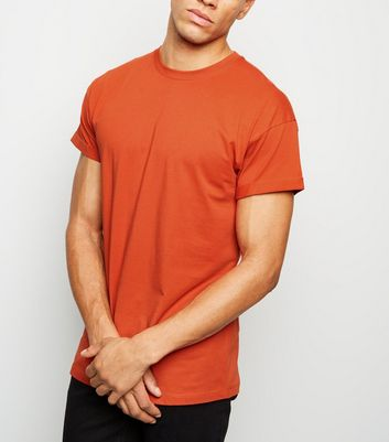Orange Rolled Sleeve T-Shirt